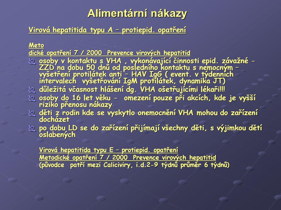 Alimentární nákazy Virová hepatitida typu A – protiepid. opatření