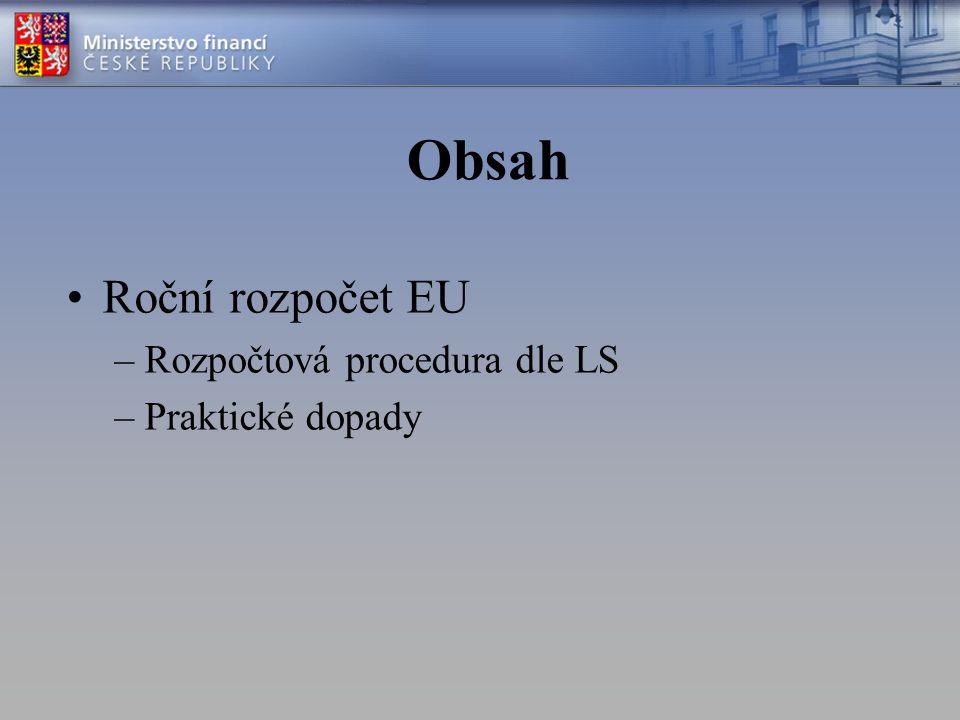 Obsah Roční rozpočet EU Rozpočtová procedura dle LS Praktické dopady