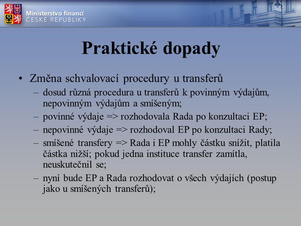 Praktické dopady Změna schvalovací procedury u transferů