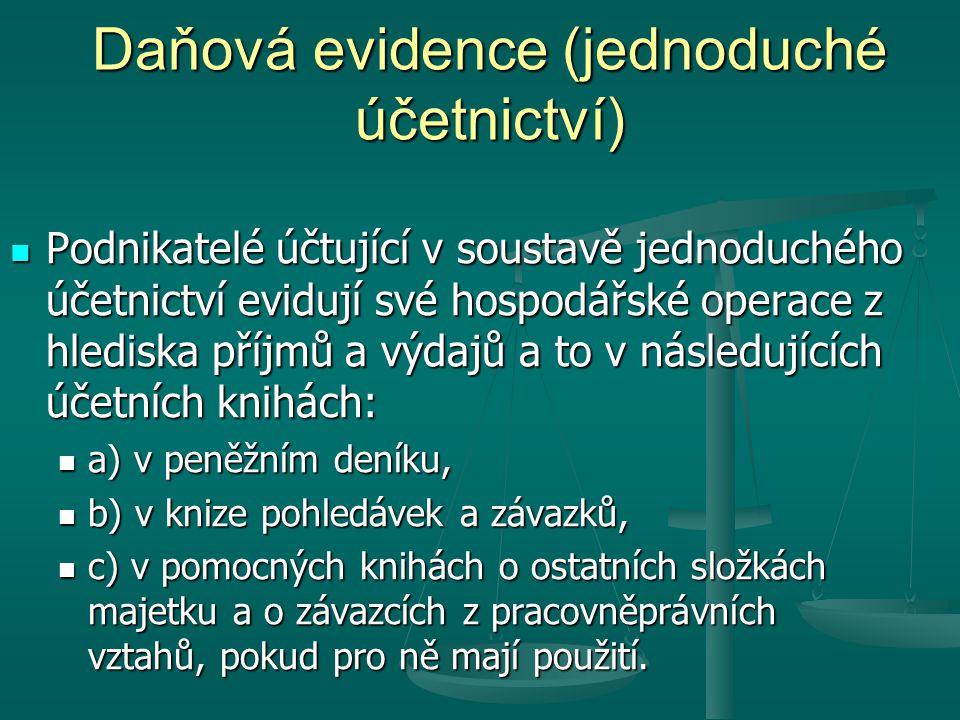 Daňová evidence (jednoduché účetnictví)