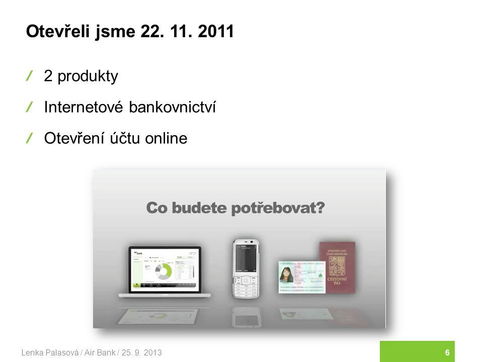 Otevřeli jsme 22. 11. 2011 2 produkty Internetové bankovnictví