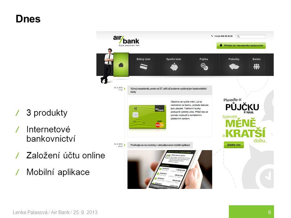 Dnes 3 produkty Internetové bankovnictví Založení účtu online