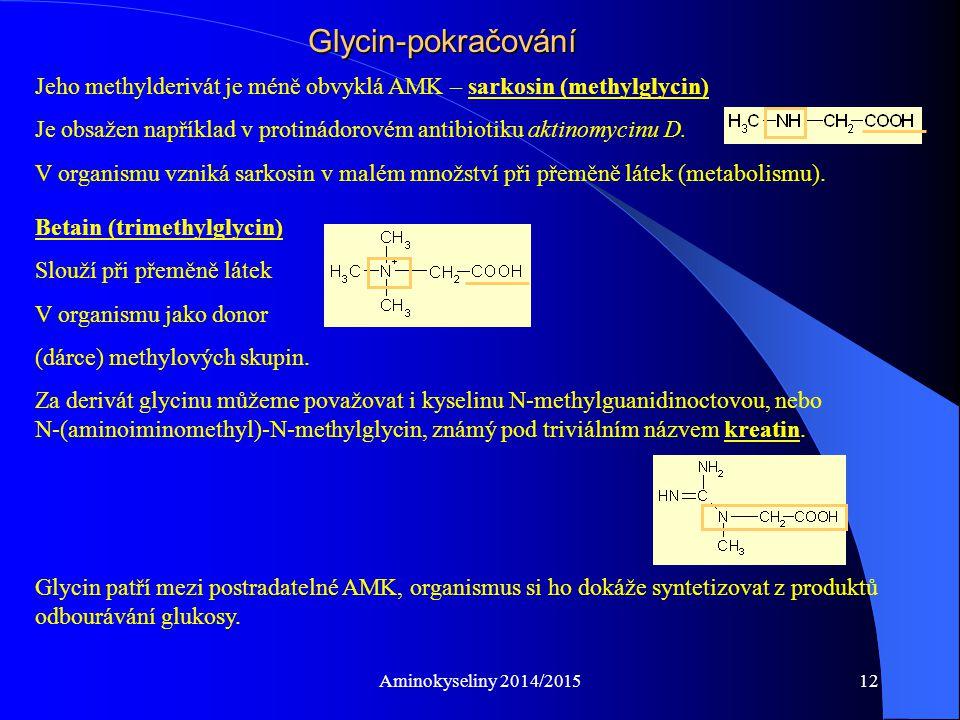Glycin-pokračování Jeho methylderivát je méně obvyklá AMK – sarkosin (methylglycin)