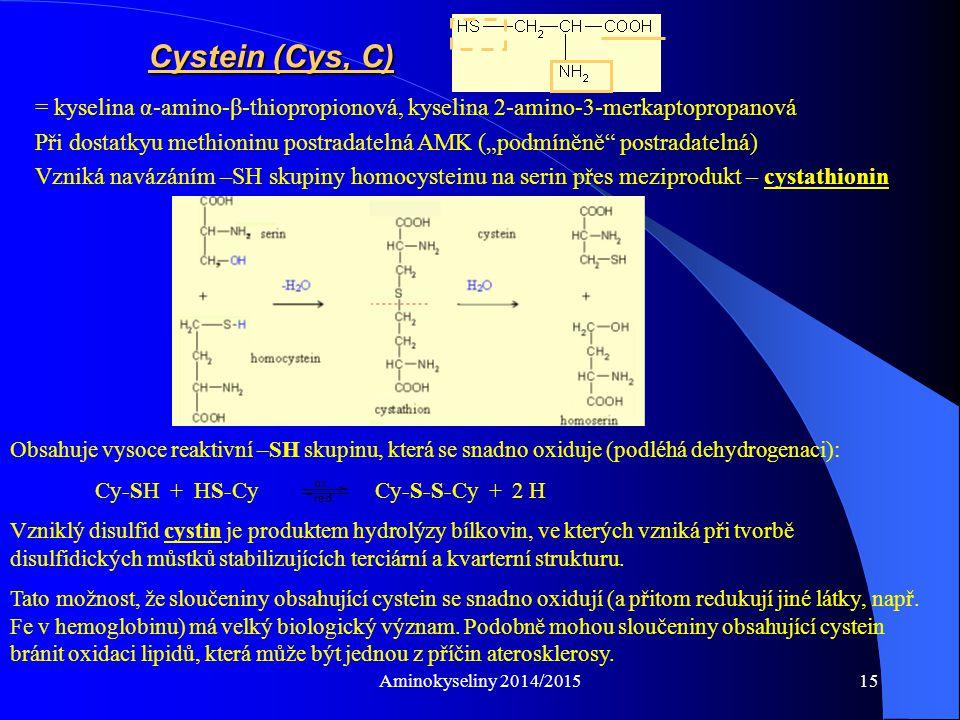 Cystein (Cys, C) = kyselina α-amino-β-thiopropionová, kyselina 2-amino-3-merkaptopropanová.