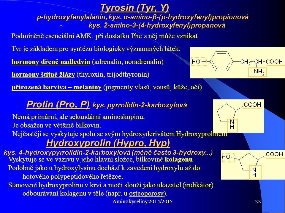 Prolin (Pro, P) kys. pyrrolidin-2-karboxylová