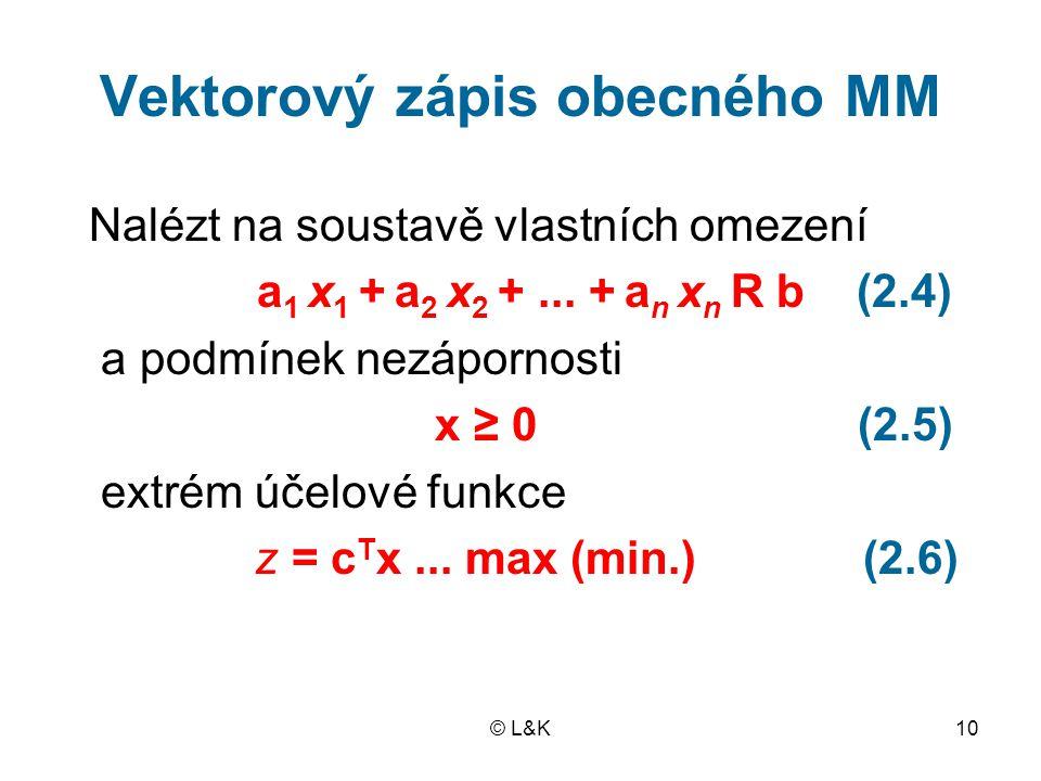 Vektorový zápis obecného MM