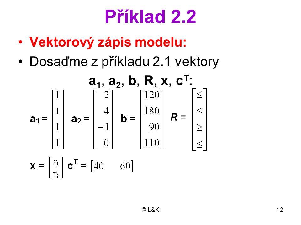 Příklad 2.2 Vektorový zápis modelu: Dosaďme z příkladu 2.1 vektory