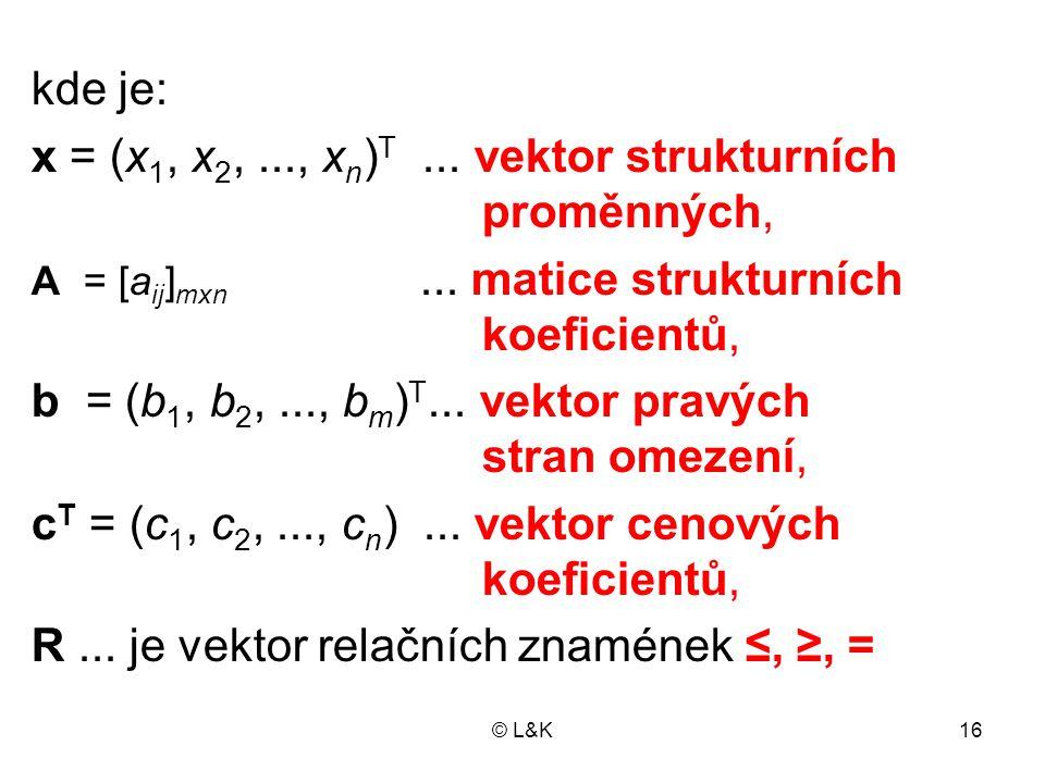 x = (x1, x2, ..., xn)T ... vektor strukturních proměnných,