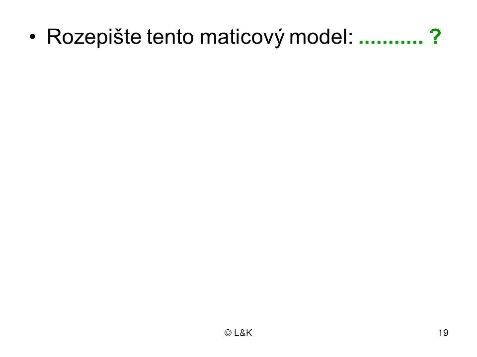 Rozepište tento maticový model: ...........