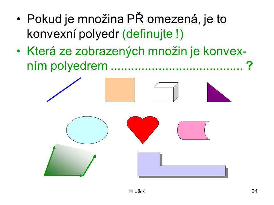 Pokud je množina PŘ omezená, je to konvexní polyedr (definujte !)