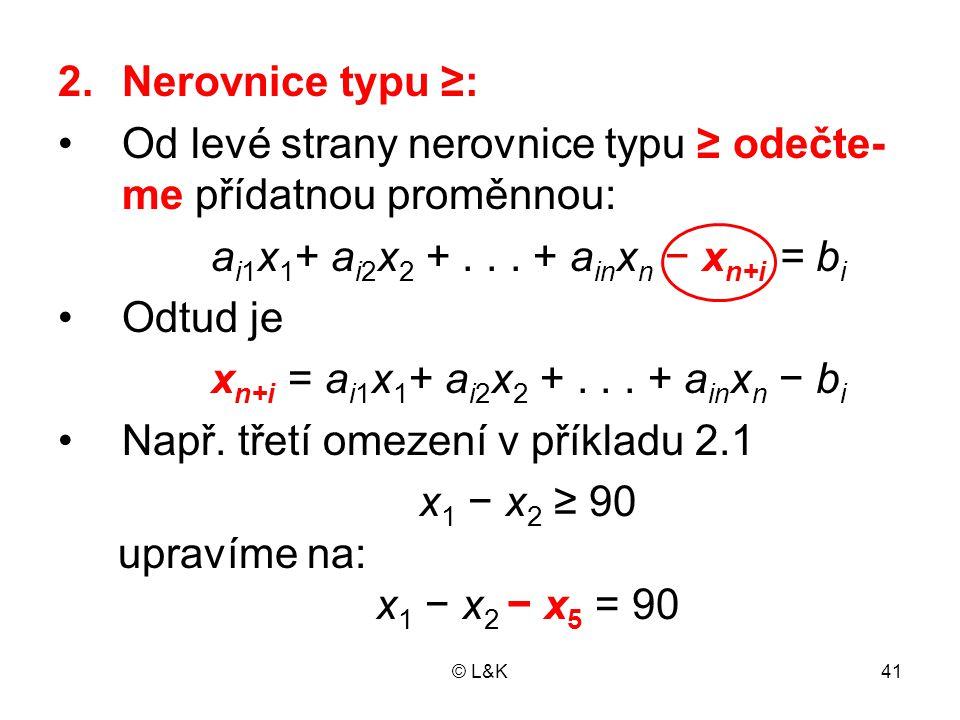 Od levé strany nerovnice typu ≥ odečte-me přídatnou proměnnou: