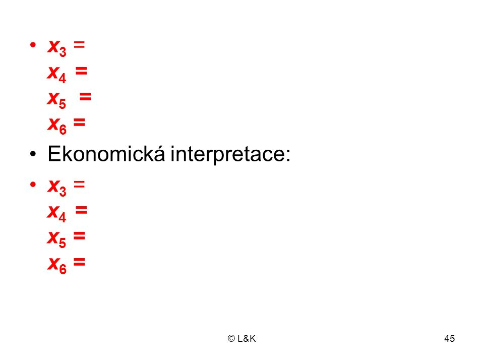 Ekonomická interpretace: