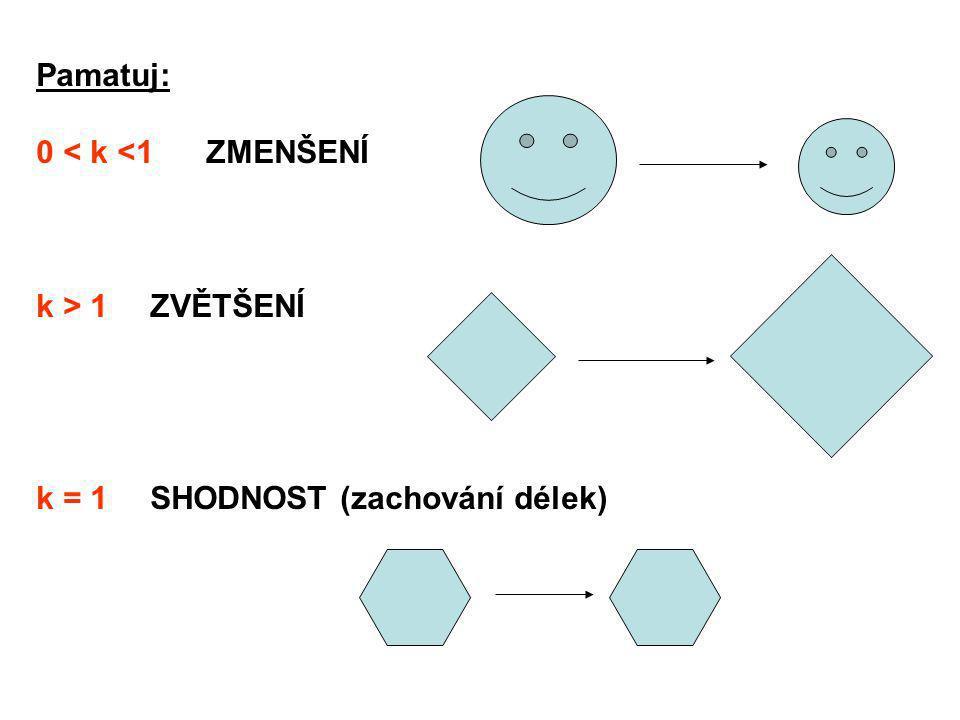 Pamatuj: 0 < k <1 ZMENŠENÍ k > 1 ZVĚTŠENÍ k = 1 SHODNOST (zachování délek)