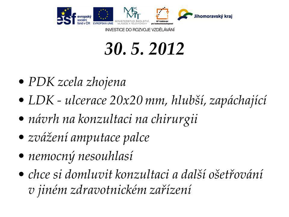 30. 5. 2012 PDK zcela zhojena. LDK - ulcerace 20x20 mm, hlubší, zapáchající. návrh na konzultaci na chirurgii.