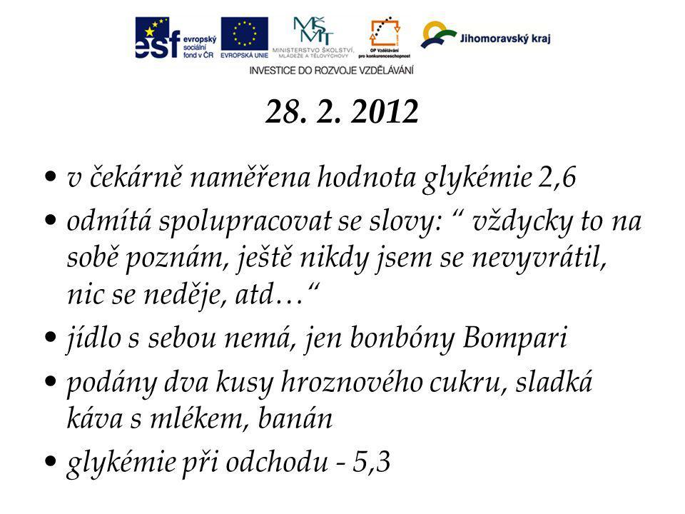28. 2. 2012 v čekárně naměřena hodnota glykémie 2,6