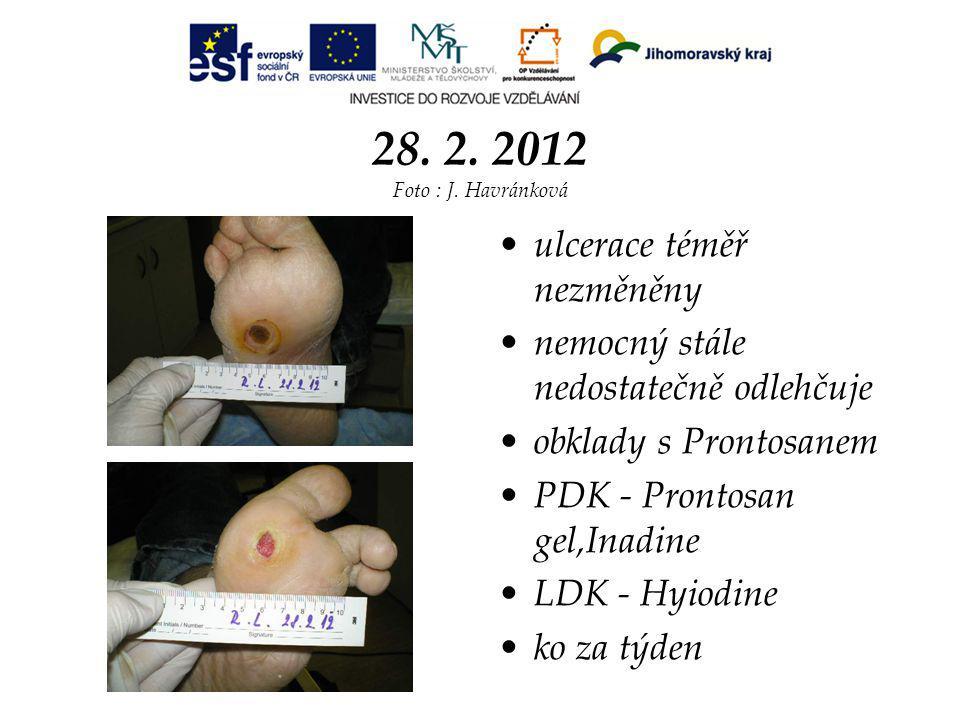 28. 2. 2012 Foto : J. Havránková ulcerace téměř nezměněny