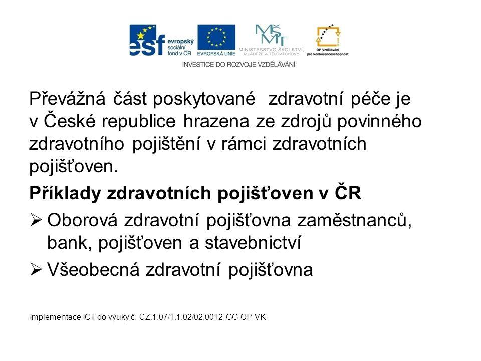 Příklady zdravotních pojišťoven v ČR