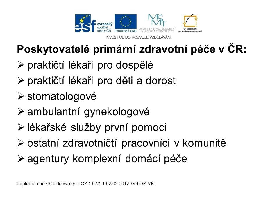 Poskytovatelé primární zdravotní péče v ČR: