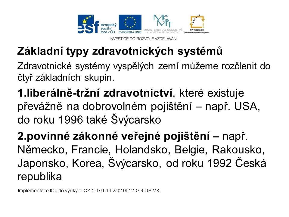 Základní typy zdravotnických systémů