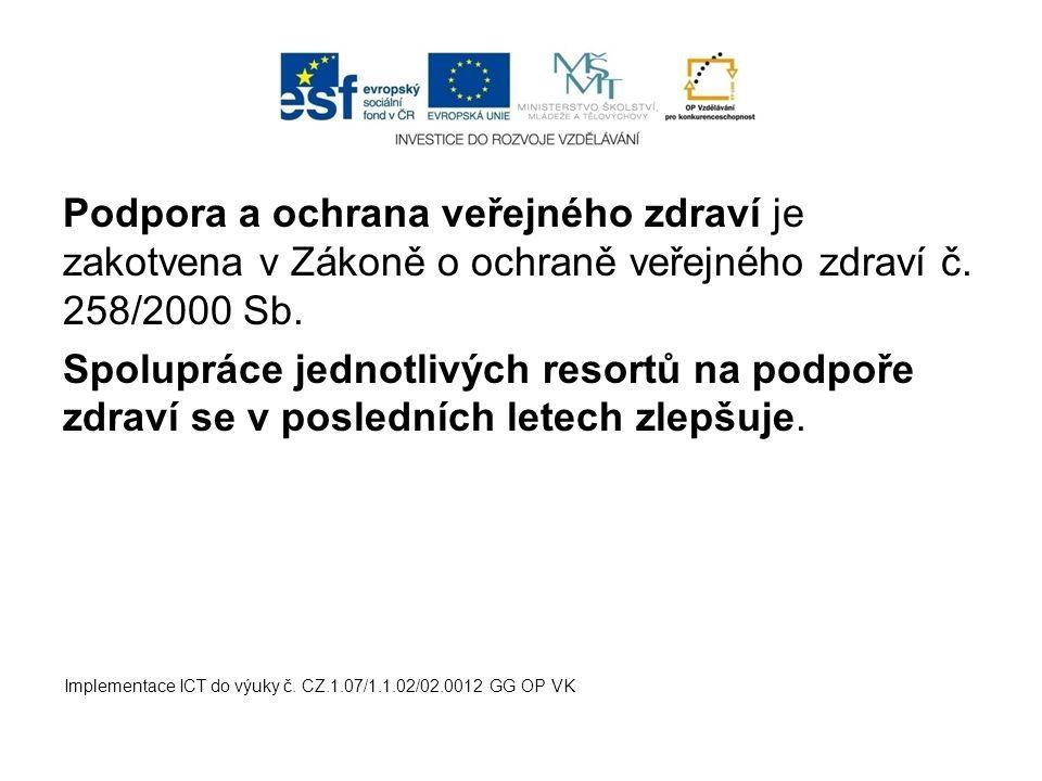 Podpora a ochrana veřejného zdraví je zakotvena v Zákoně o ochraně veřejného zdraví č. 258/2000 Sb.
