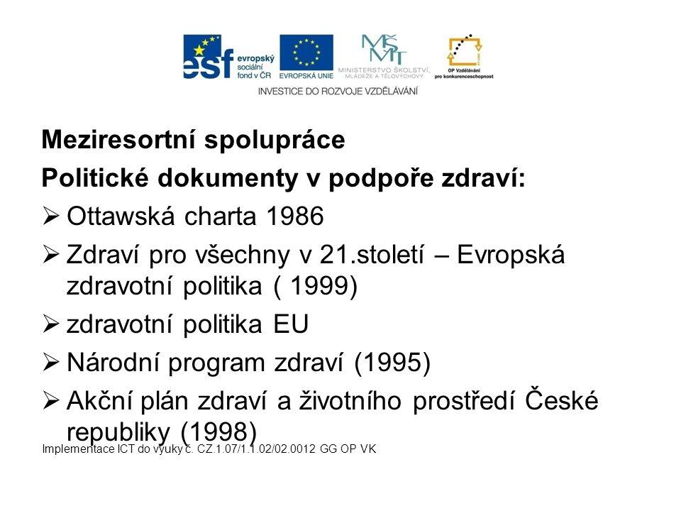 Meziresortní spolupráce Politické dokumenty v podpoře zdraví: