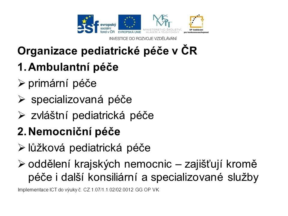 Organizace pediatrické péče v ČR Ambulantní péče primární péče