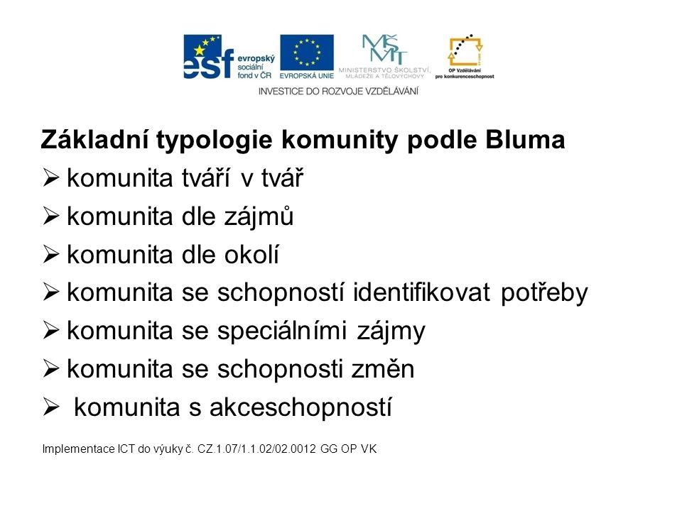 Základní typologie komunity podle Bluma komunita tváří v tvář
