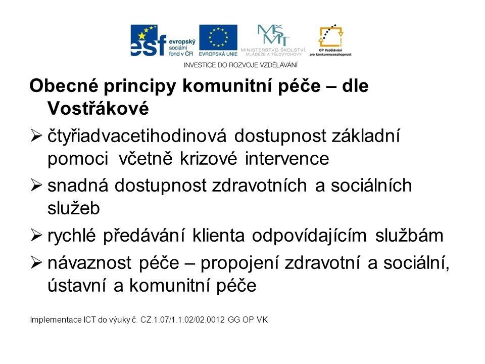 Obecné principy komunitní péče – dle Vostřákové