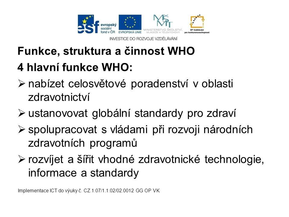 Funkce, struktura a činnost WHO 4 hlavní funkce WHO: