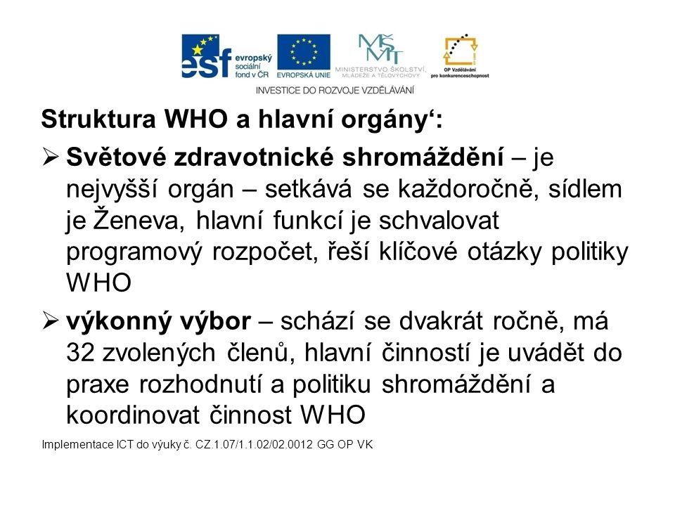 Struktura WHO a hlavní orgány':