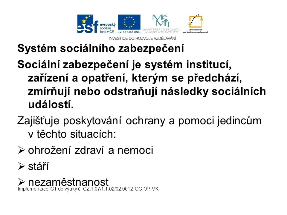 Systém sociálního zabezpečení