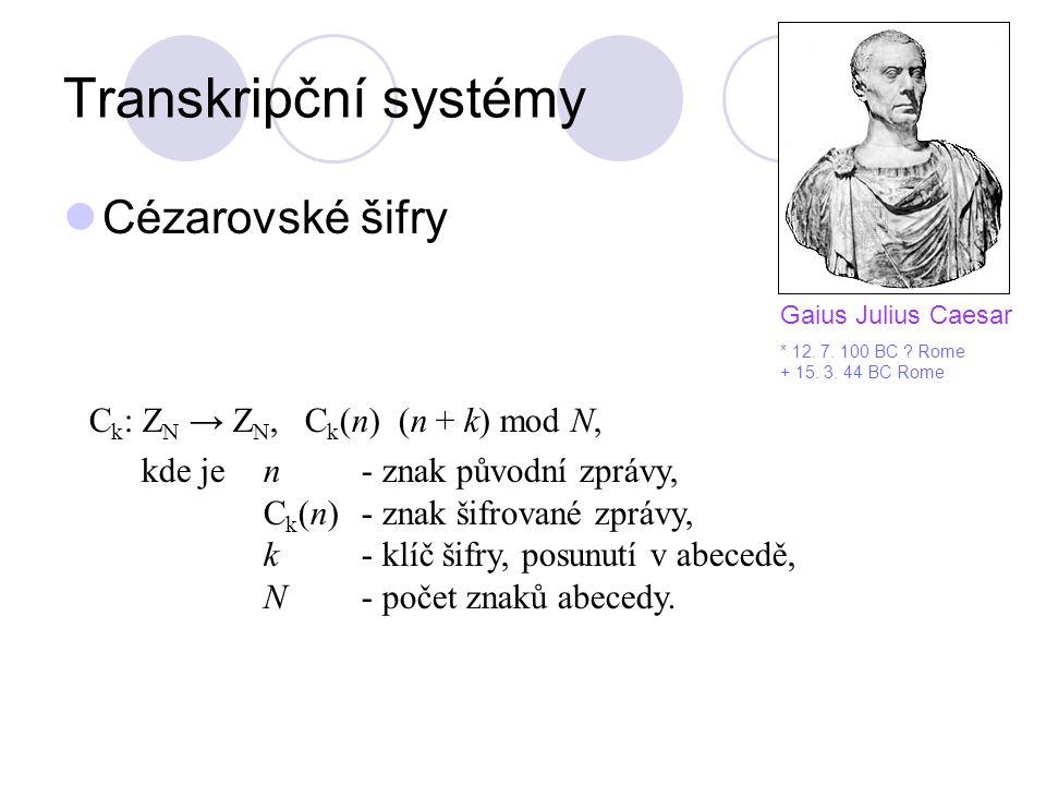 Transkripční systémy Cézarovské šifry