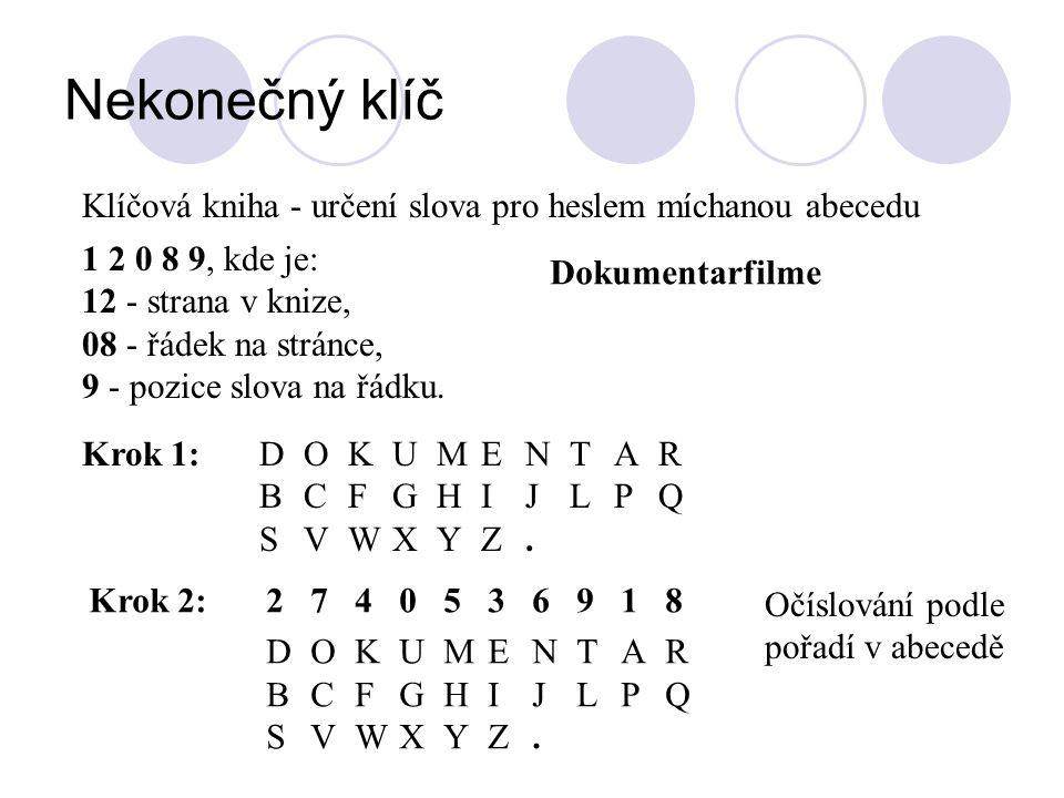 Nekonečný klíč Klíčová kniha - určení slova pro heslem míchanou abecedu. 1 2 0 8 9, kde je: 12 - strana v knize,