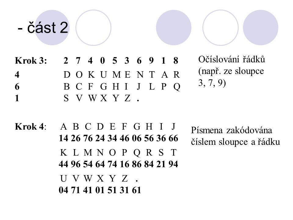 - část 2 Očíslování řádků (např. ze sloupce 3, 7, 9)