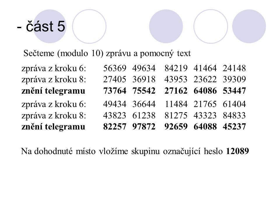- část 5 Sečteme (modulo 10) zprávu a pomocný text