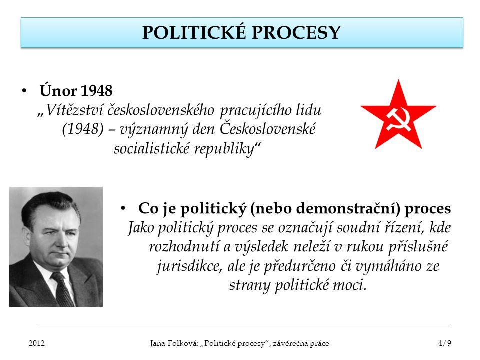 """Jana Folková: """"Politické procesy , závěrečná práce"""