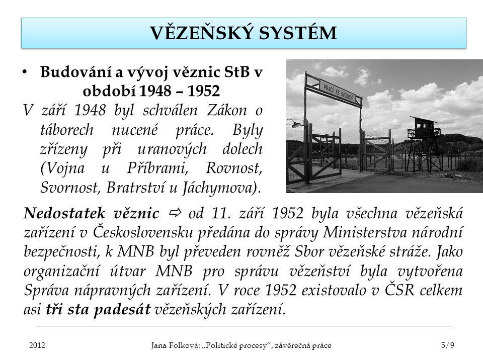 Budování a vývoj věznic StB v období 1948 – 1952