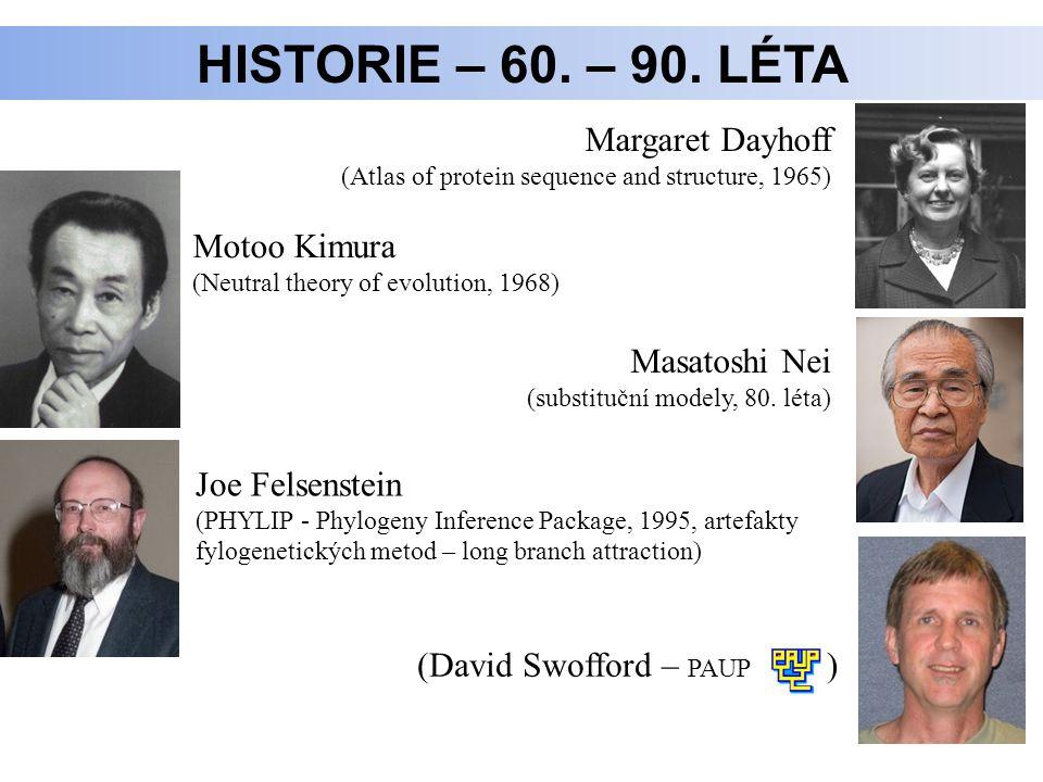 Historie – 60. – 90. léta Margaret Dayhoff Motoo Kimura Masatoshi Nei