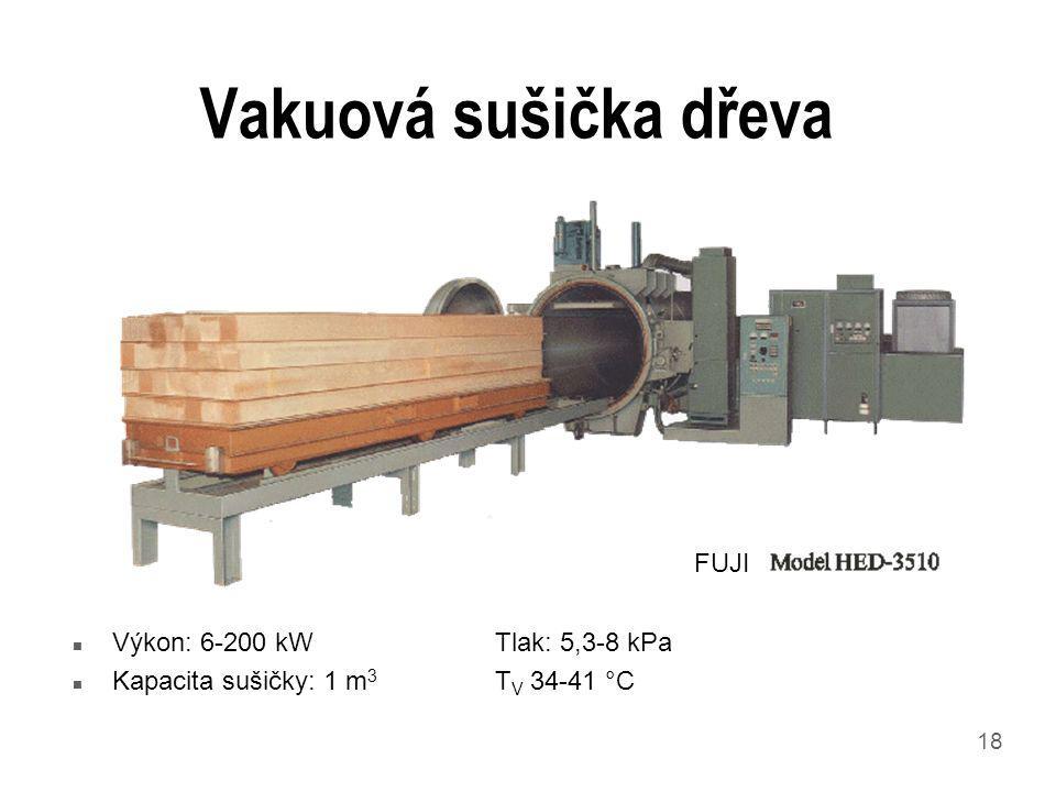 Vakuová sušička dřeva FUJI Výkon: 6-200 kW Tlak: 5,3-8 kPa