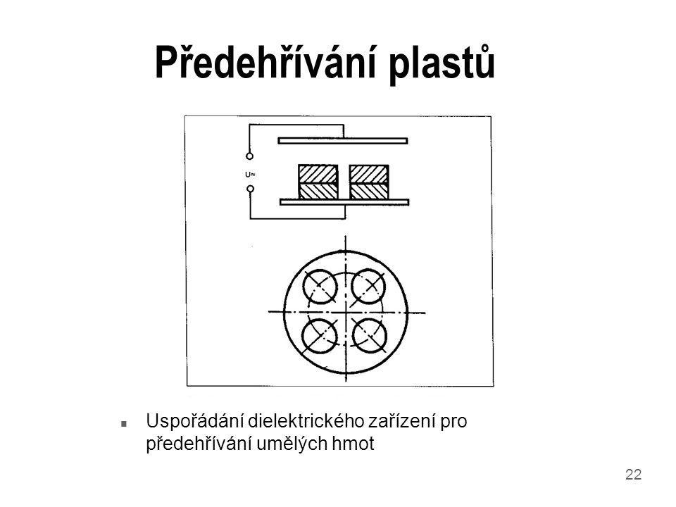 Předehřívání plastů Uspořádání dielektrického zařízení pro předehřívání umělých hmot