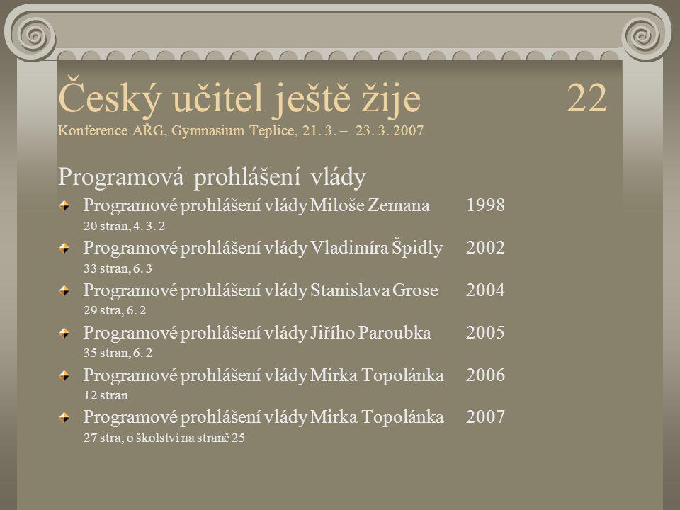 Český učitel ještě žije 22 Konference AŘG, Gymnasium Teplice, 21. 3