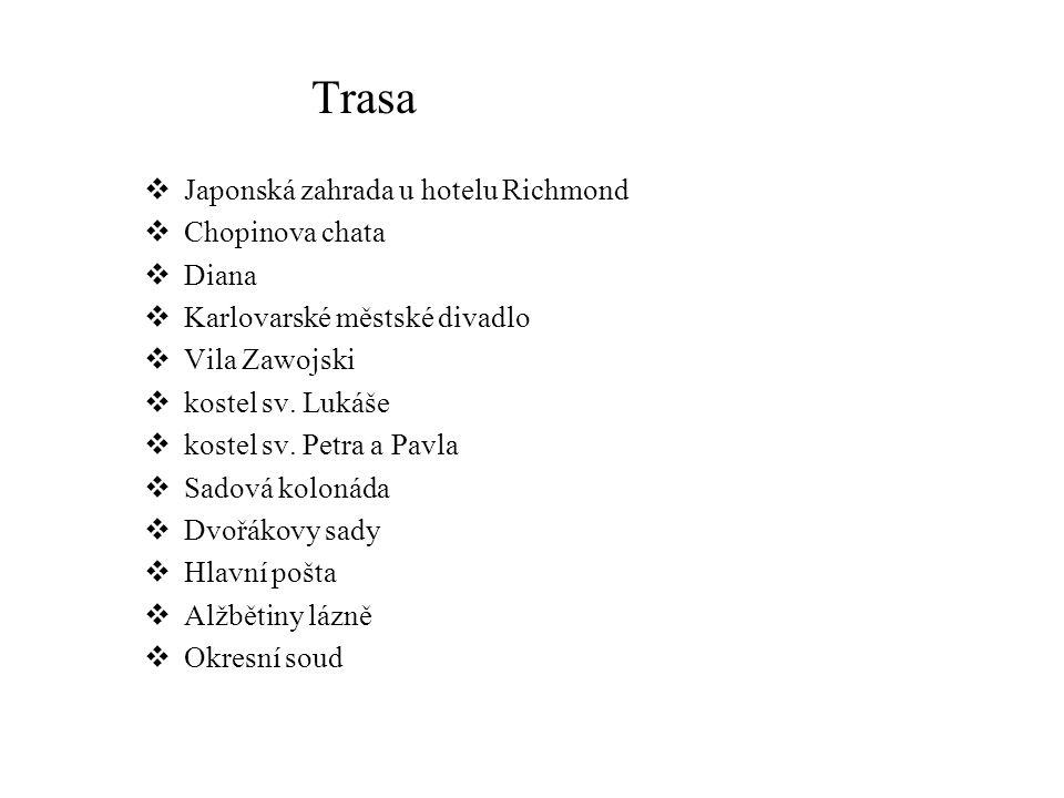 Trasa Japonská zahrada u hotelu Richmond Chopinova chata Diana