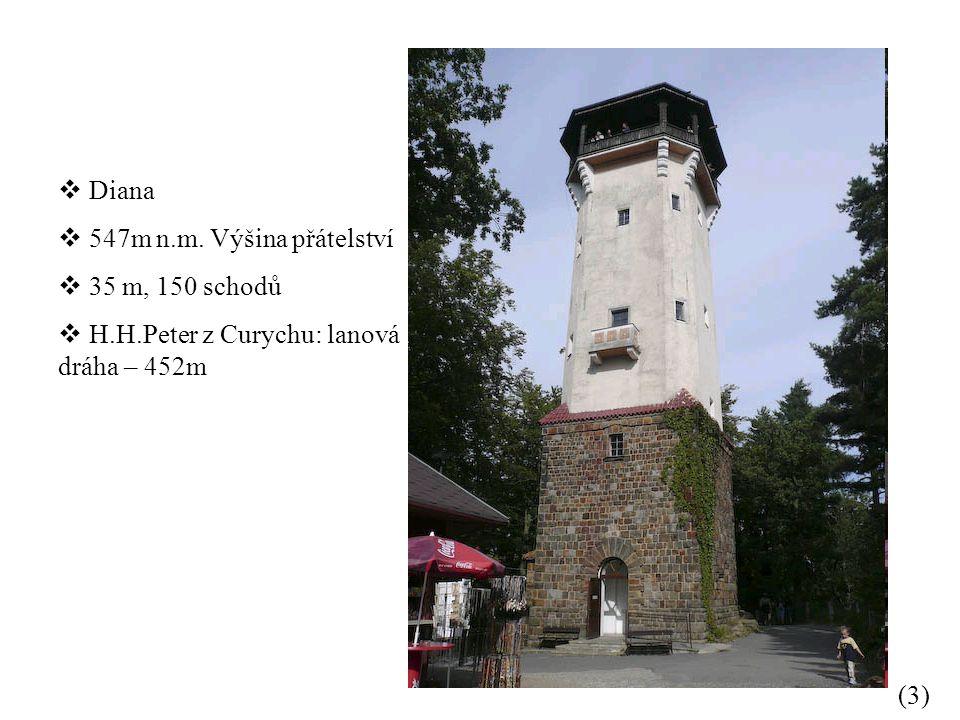 Diana 547m n.m. Výšina přátelství 35 m, 150 schodů H.H.Peter z Curychu: lanová dráha – 452m (3)