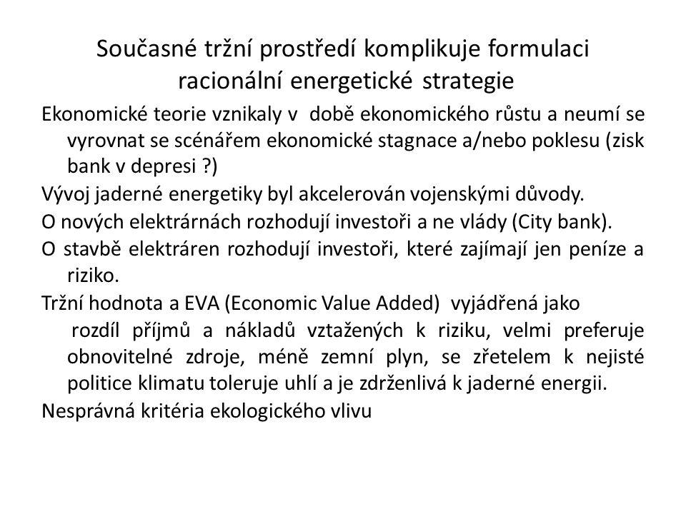 Současné tržní prostředí komplikuje formulaci racionální energetické strategie