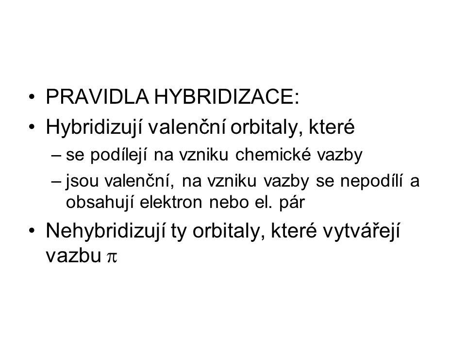 PRAVIDLA HYBRIDIZACE: Hybridizují valenční orbitaly, které