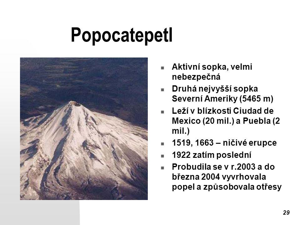 Popocatepetl Aktivní sopka, velmi nebezpečná
