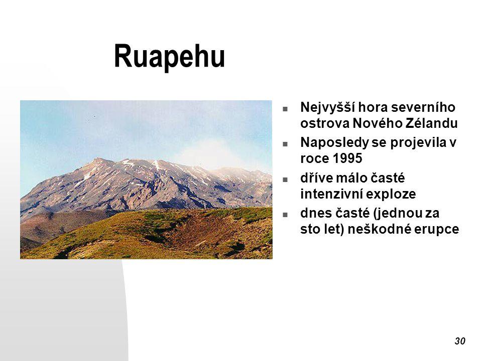 Ruapehu Nejvyšší hora severního ostrova Nového Zélandu