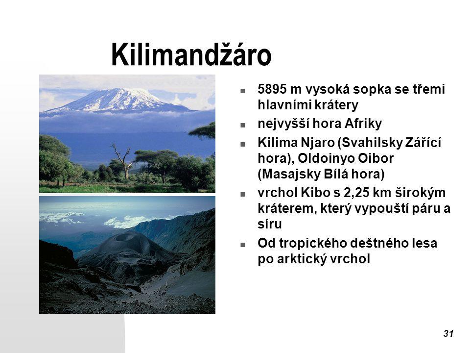 Kilimandžáro 5895 m vysoká sopka se třemi hlavními krátery