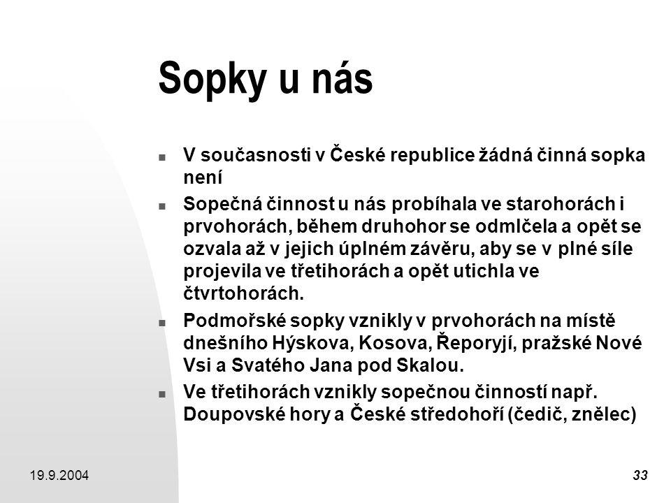 Sopky u nás V současnosti v České republice žádná činná sopka není