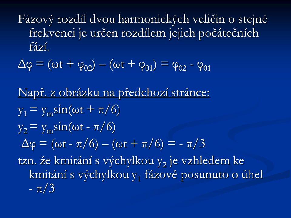 Fázový rozdíl dvou harmonických veličin o stejné frekvenci je určen rozdílem jejich počátečních fází.